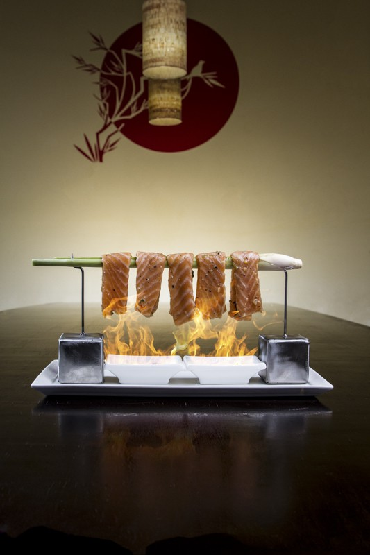 marinated salmon in open flame